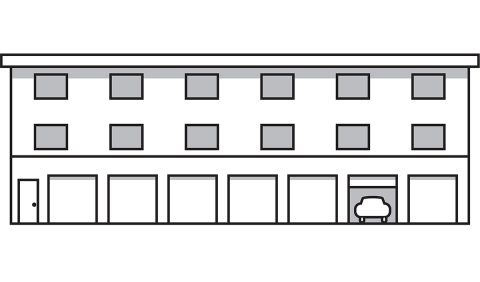 drawing of multi unit housing with garages underneath