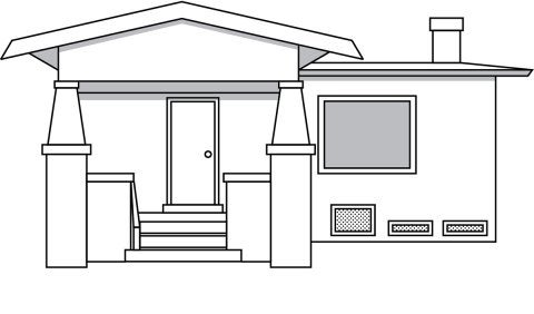 drawing of a single family home over a crawl space
