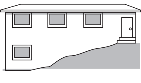 drawing of a home on a hillside