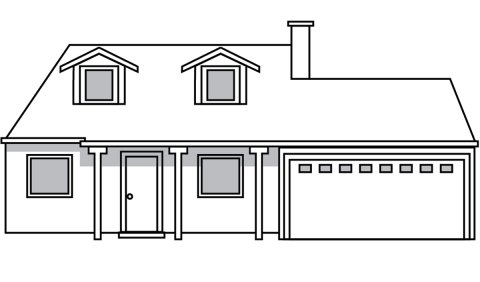 drawing of a single family home on a slab