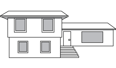 drawing of a split level home